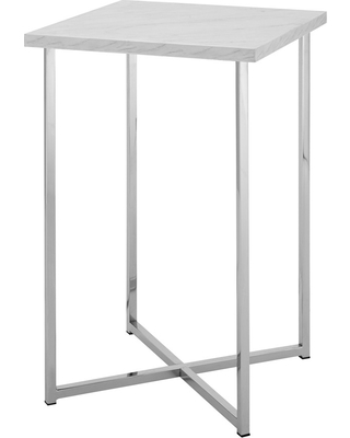 """16"""" Square Side Table White Marble/Chrome - Saracina Home, White Faux Marble/Grey"""