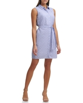 TOMMY HILFIGER Sleeveless Mini Houndstooth Dot Shirt Dress, Size 14 in Chambray Blue at Nordstrom Rack