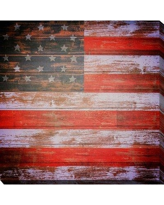 """August Grove 'Freedom Usa' Graphic Art Print on Wrapped Canvas BI092352 Size: 36"""" H x 36"""" W x 1.5"""" D"""