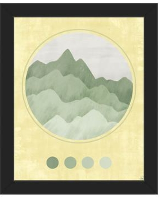 "Click Wall Art 'Mountain Globe Yellow' Framed Graphic Art CBS0002742FRA Format: Black Framed Size: 26.5"" H x 22.5"" W"