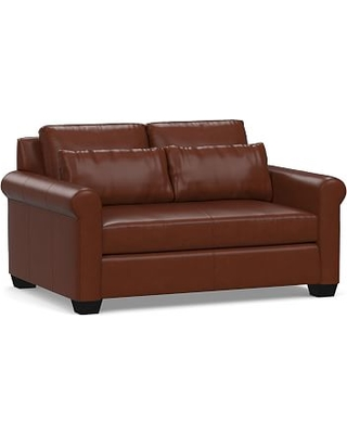 "York Deep Seat Roll Arm Leather Loveseat 63"" with Bench Cushion, Down Blend Wrapped Cushions, Signature Whiskey"