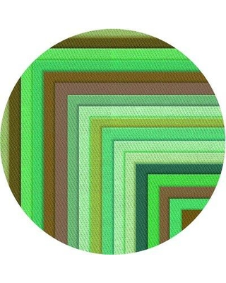 East Urban Home Striped Wool Green Area Rug X113647283 Rug Size: Round 5'