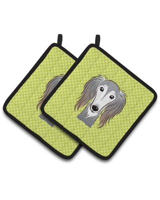 Checkerboard Lime Green Saluki Pair of Pot Holders