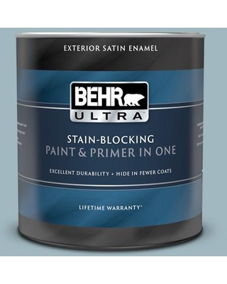BEHR ULTRA 1 qt. #BIC-23 Hopeful Blue Satin Enamel Exterior Paint and Primer in One
