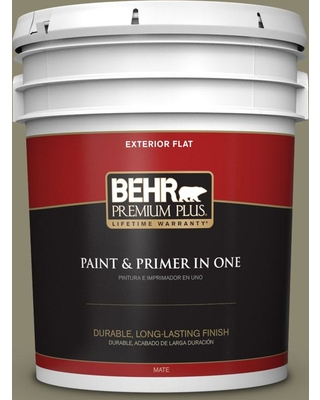 BEHR PREMIUM PLUS 5 gal. #PPU8-21 Mossy Bank Flat Exterior Paint and Primer in One