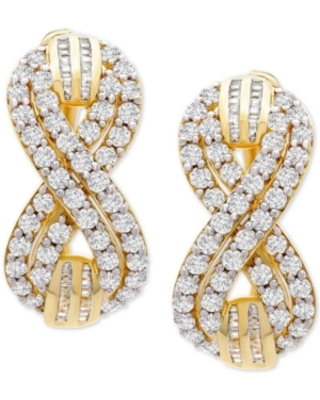 """Wrapped in Love Diamond Infinity Small Hoop Earrings (2 ct. t.w.) in Gold-Plated Sterling Silver, 0.95"""", Created for Macy's"""