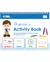 Spark & Spark Art Activity Books - Brown-Haired Boy Personalized Writing Tablet