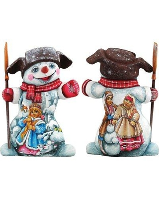 New Savings On The Holiday Aisle Masterpiece Fun In The Snow Santa Woodcarved Figurine Wood In Brown Blue Size 7 H X 4 W X 2 D Wayfair 821581