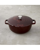 Staub Cast-Iron Essential French Oven, Rooster Design, 3 3/4-Qt., Grenadine