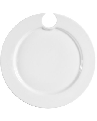 CAC China Party Plate 9-Inch by 3/4-Inch Super White Porcelain Round Party Plate with Wine Glass Hole, Box of 24