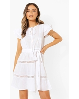 Womens Cotton Lace Trim Detail Tiered Skater Dress - White - 4