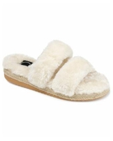 Journee Collection Women's Faux Fur Espadrille Slippers - Ivory