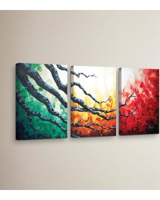 """Latitude Run 'Higher' 3 Piece Painting Print on Wrapped Canvas Set LTDR7315 Size: 36"""" H x 72"""" W x 2"""" D"""