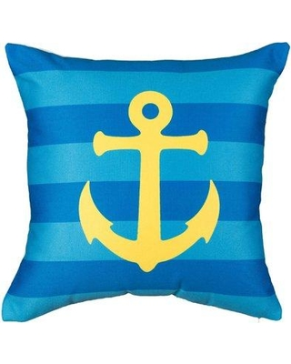 """Highland Dunes Leandro Home is My Anchor Cotton Throw Pillow BF174983 Size: 24"""" x 24"""""""