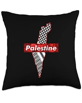 Free Palestine Shirt And Accessories Free Gaza Palestine Flag Arabic Throw Pillow, 18x18, Multicolor