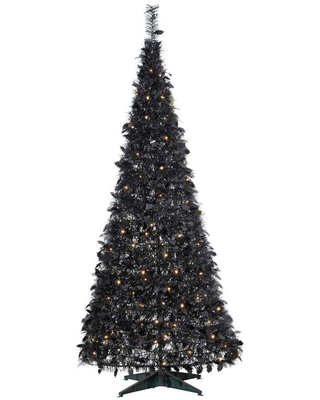 Sterling Tree Company 6-ft Pine Pre-Lit Black Artificial Christmas Tree with 200 Constant Warm White LED Lights | 6460-60MLWW