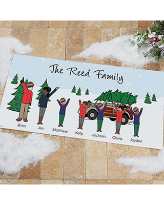 philoSophie's Christmas Car Family Personalized Doormat - 24x48