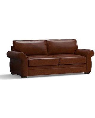 """Pearce Leather Grand Sofa 90"""", Down Blend Wrapped Cushions, Leather Statesville Molasses"""