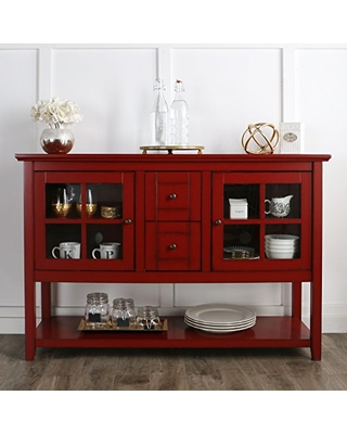 "WE Furniture Red 52"" Wood Modern Highboy Style Tall TV Stand for Flat Screen TV's Up to 65"" Entertainment Center"