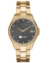 iTouch Gold Connected Women's Hybrid Smartwatch Fitness Tracker: Crystal Case with Gold Metal Strap