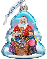The Holiday Aisle Gift Giving Santa Glass Ornament THLY6695