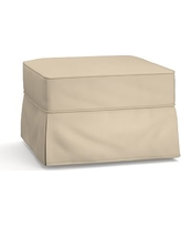 Buchanan Slipcovered Ottoman, Polyester Wrapped Cushions, Twill Parchment