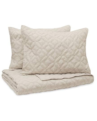 Vue Fairfax (Hexagon Cotton) 3 Piece Quilted Bedspread Coverlet Sets, Full/Queen, Taupe