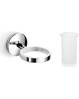 WS Bath Collections Baketo Toothbrush & Tumbler Holder Baketo 52011+55003 Color: Polished Chrome / Frosted Glass