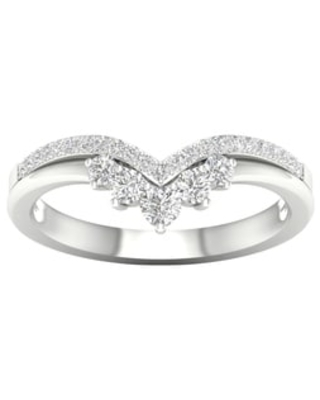 1/3ct TDW Diamond Contour Wedding Band in 10k Gold by De Couer (8 - Diamond - Vintage/Anniversary/Bands - White)