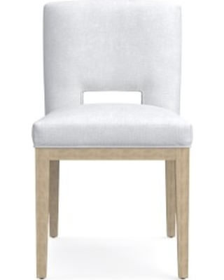 Saratoga Dining Side Chair, Chunky Linen, White, Heritage Grey Leg