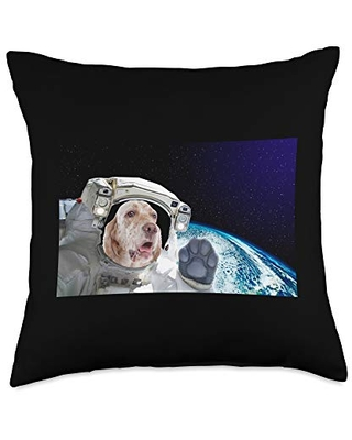 Dog in Space English Setter Throw Pillow, 18x18, Multicolor