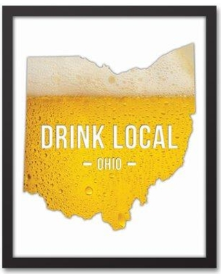 "Wrought Studio 'Ohio Drink Local Beer' Graphic Art Print on Canvas VRKG8627 Size: 21.73"" H x 17.73"" W Format: Black Framed"