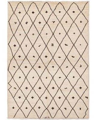 """One-of-a-Kind Jelissa Hand-Knotted 2010s Moroccan Cream/Black 6'1"""" x 8'10"""" Wool Area Rug"""