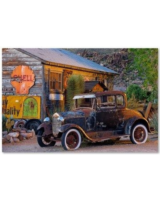 "Trademark Art 'Rt 66 near Peach Springs' Photographic Print on Wrapped Canvas ALI17897-C Size: 30"" H x 47"" W"
