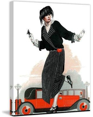"Marmont Hill Flapper and Roadster by Coles Phillips Painting Print on Wrapped Canvas MH-FASGLM-05-C Size: 52"" H x 40"" W"