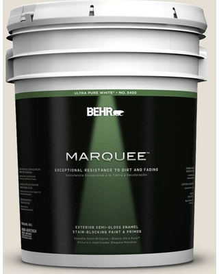BEHR MARQUEE 5 gal. #PPU7-11 Cotton Knit Semi-Gloss Enamel Exterior Paint and Primer in One