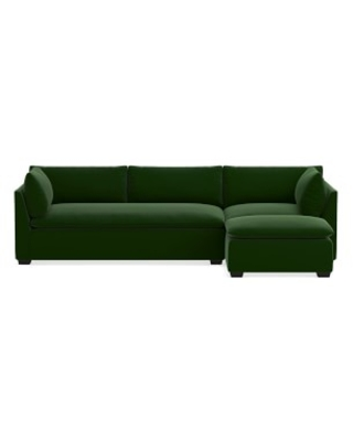"Laguna Sectional, 26"" Depth, 3-Piece L-Shape Chaise with Ottoman, Right, Standard Cushion, Signature Velvet, Emerald, Ebony Leg"