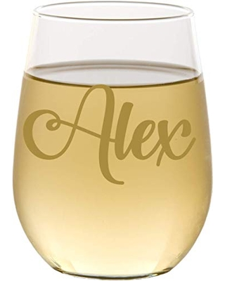 Personalized Name Stemless Wine Glass, Mom Gifts, Gift for Her, Mother's Day, Christmas, Bridesmaid Glass - VSG01