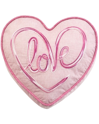 Love Heart Accent Pillow in Pink (Pink - Polyester - Specialty - Traditional - Zipper Closure - Solid Color)