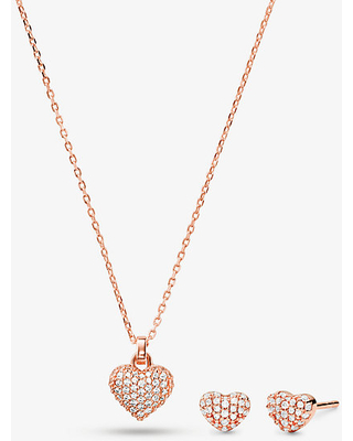 14K Gold-Plated Sterling Silver Pavé Heart Necklace and Stud Earrings Set