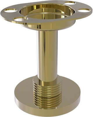 Allied Brass Vanity Top Tumbler and Toothbrush Holder with Groovy Accents in Unlacquered Brass