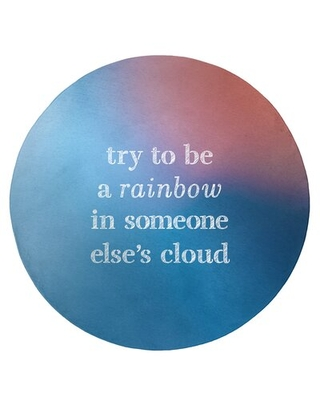 Multicolor Background Try To Be A Rainbow Quote Poly Chenille Rug East Urban Home Rug Size: Round 5'