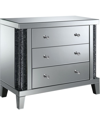 Furniture of America Ellis Silver 3-Drawer Wide Side Table, Grey