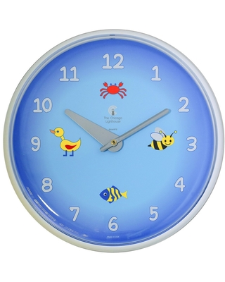 """12.75"""" x 1.5"""" Blue Planet Children's Wall Clock Decorative Wall Clock White Frame - By Chicago Lighthouse"""