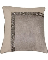 India's Heritage Hand Embroidery Hairon Leather Throw Pillow C876