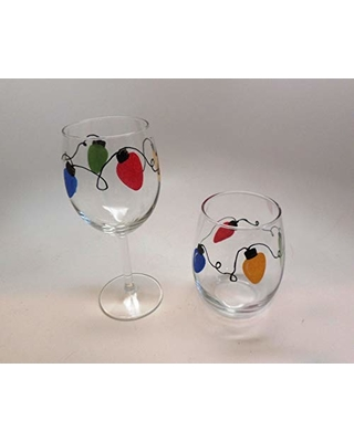 Hand Painted Christmas Lights Wine Glasses two types