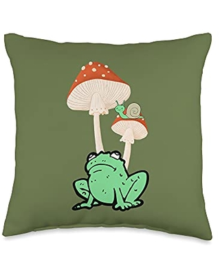 Cottagecore Aesthetic Lover Gift Store Kawaii Cottagecore Frog with Toadstool Mushroom and Snail Throw Pillow, 16x16, Multicolor