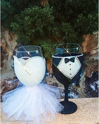 Bride and Groom Glasses - Future Bride Gifts - Tulle Wine Glasses - Wedding Toasting Cups -Wedding Wine Glasses - His and Hers Set - Engagement Present