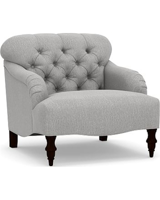 Clara Upholstered Armchair, Polyester Wrapped Cushions, Sunbrella(R) Performance Chenille Fog