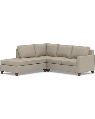 Cameron Square Arm Upholstered Right 3-Piece Bumper Sectional, Polyester Wrapped Cushions, Performance Brushed Basketweave Sand